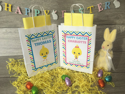 Personalised Children's Easter Gift Bag Easter Chick Boy