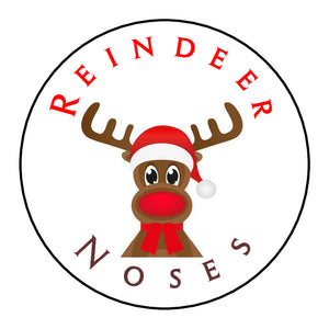 Glossy Round Christmas Labels Stickers Reindeer Noses