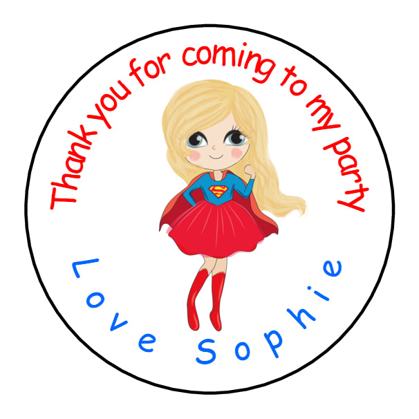 Personalised Glossy Birthday Party Favour Sweet Bag Stickers - Super Woman