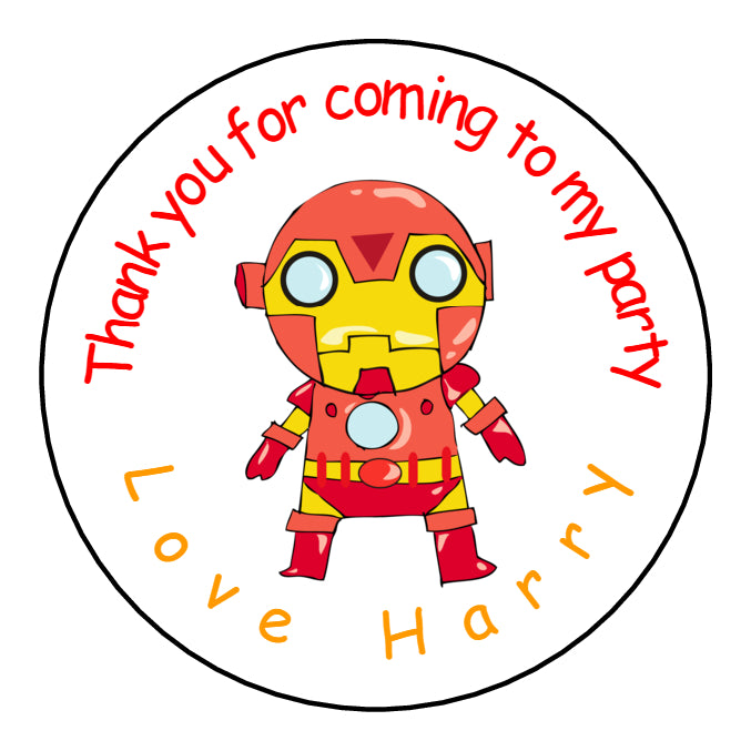 Personalised Round Glossy Birthday Party Favour Bag Stickers Iron Man