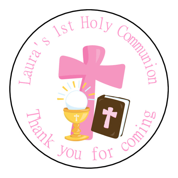 Personalised Round Glossy First Holy Communion Party Favour Sweet Bag Stickers Cross