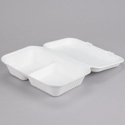 "Take Out Containers 9"" x 6"" x 3"" Sugarcane Bagasse 2-Compartment Hinged Clamshells  in 200 packs"