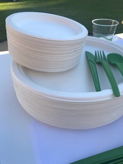 Round Sugarcane Bagasse Plates 9 inch Single Section EcoFriendly Pack ct 25, 100, 500