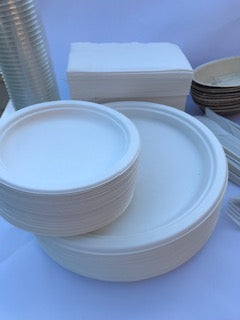 Clean round beautiful Plates for a party strong durable microwavable