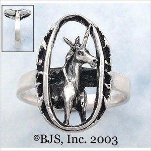 Fantasy Medieval Unicorn Cameo Ring in Sterling Silver-Single Detail Page Misc - www.Gifteee.com - Cool Gifts \ Unique Gifts - The Best Gifts for Men, Women and Kids of All Ages