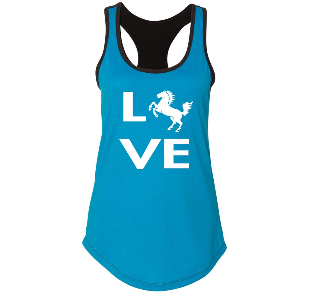 Love Horse Silhouette Graphic Tee Ladies Colorblock Racerback Tank Top
