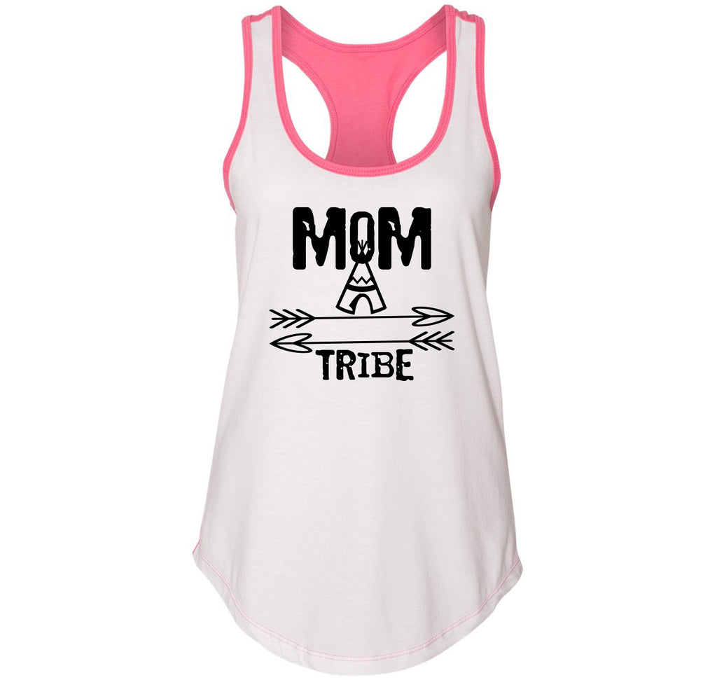 Mom Tribe Mother's Day Ladies Colorblock Racerback Tank Top