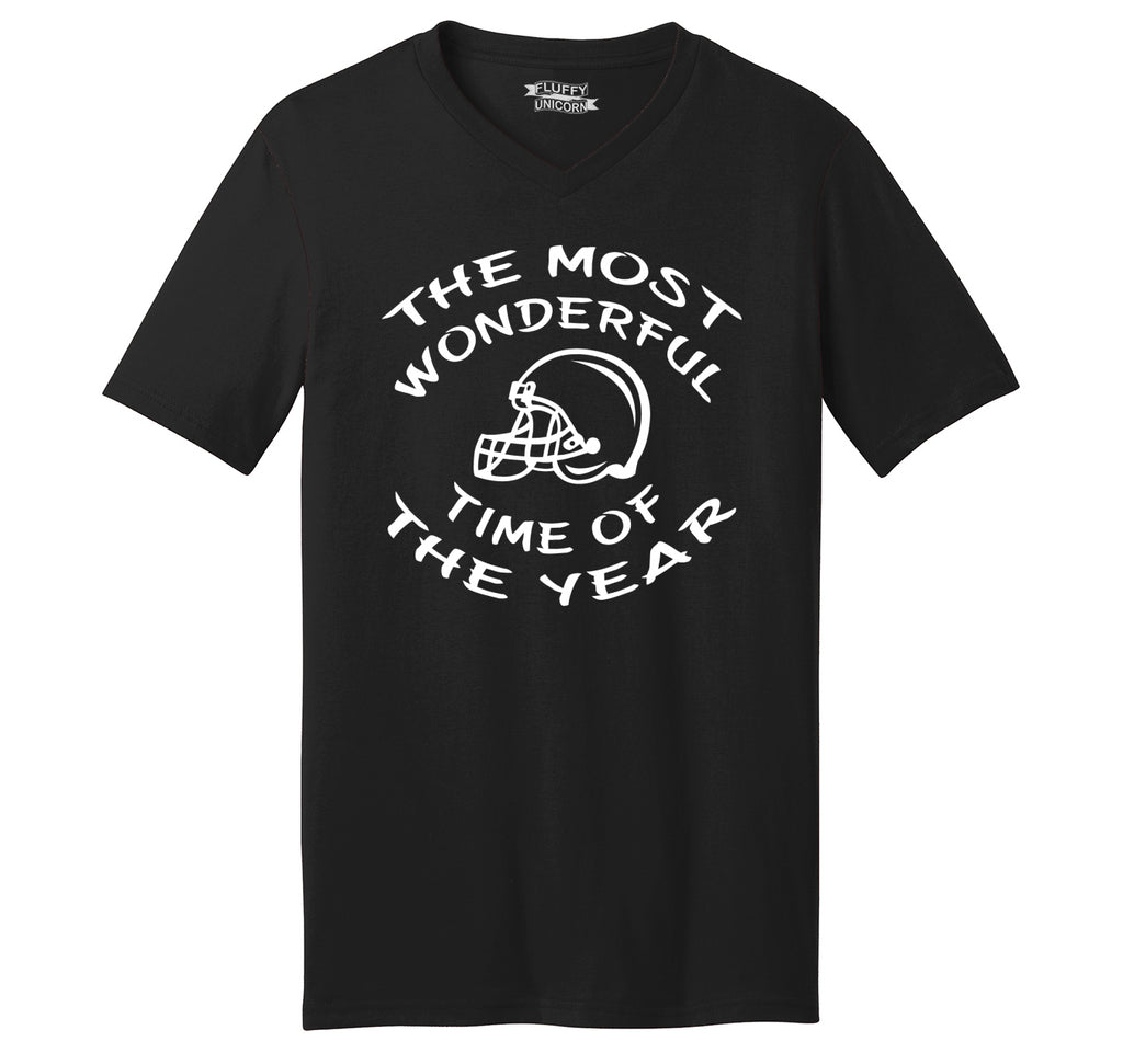 The Most Wonderful Time Of The Year Football Mens Short Sleeve Ringspun V Neck