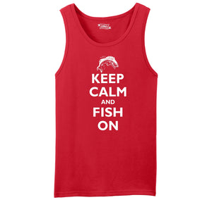 Keep Calm and Fish On Mens Sleeveless Tank Top