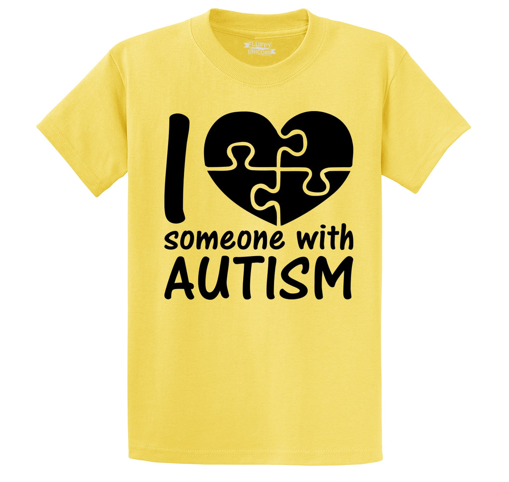 I Love Someone With Autism Men's Heavyweight Big & Tall Cotton Tee Shirt