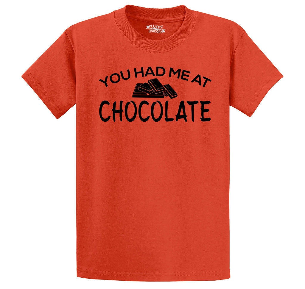 You Had Me At Chocolate Funny Tee Valentines Day Gift Tee Men's Heavyweight Big & Tall Cotton Tee Shirt