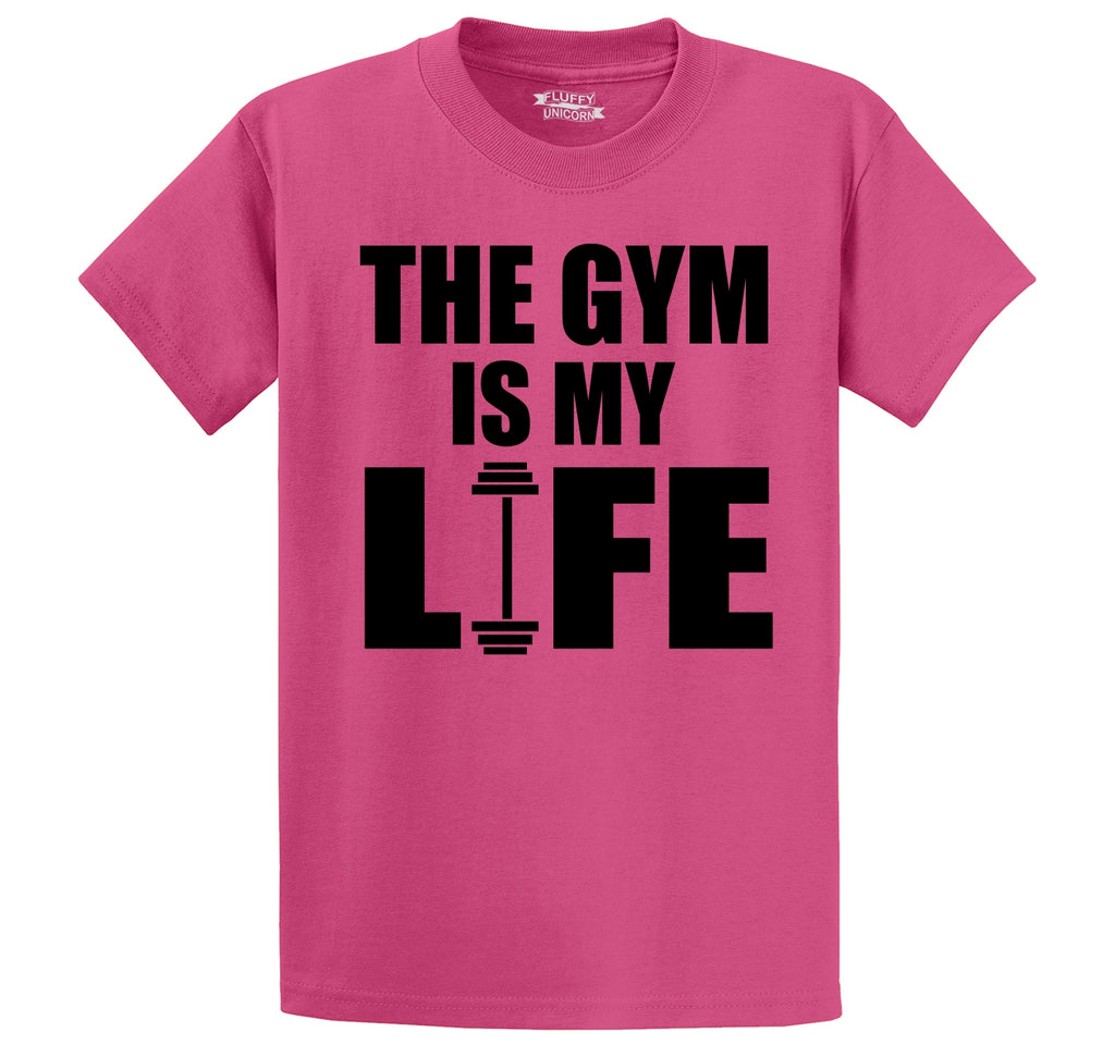 The Gym Is My Life Funny Workout Gym Trainer Gift Shirt Men's Heavyweight Big & Tall Cotton Tee Shirt