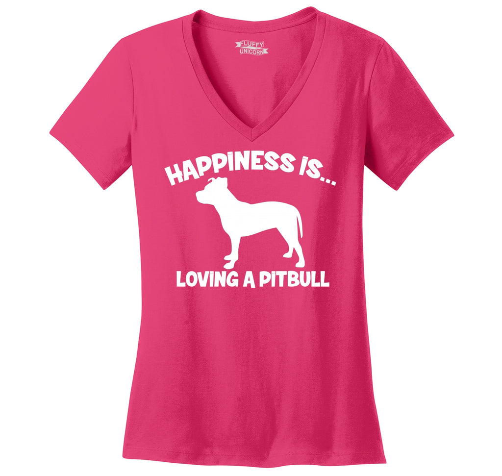 Happiness Is Loving A Pitbull Ladies Ringspun V-Neck Tee