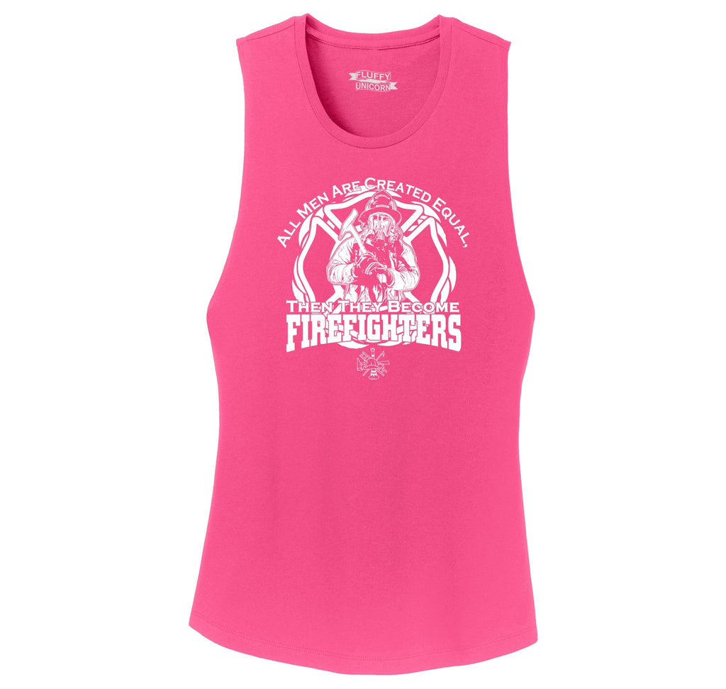 Men Are Created Equal Firefighter Ladies Festival Tank Top