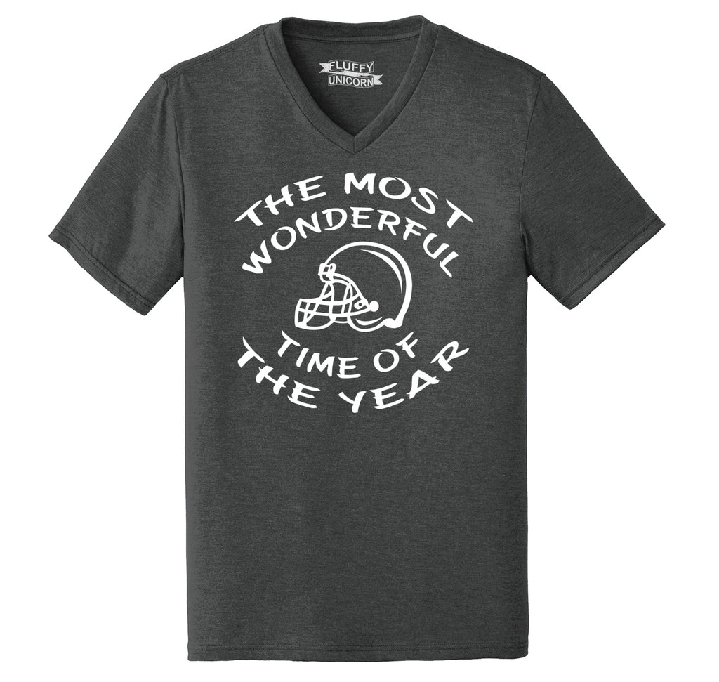 The Most Wonderful Time Of The Year Football Mens Tri-Blend V-Neck Tee Shirt