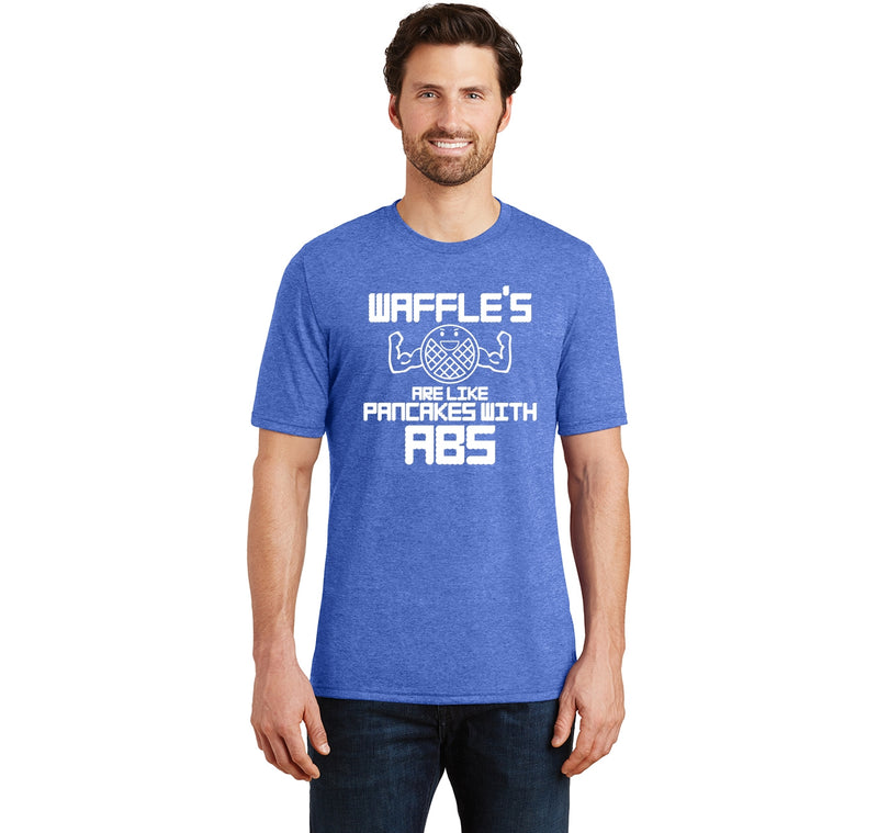 Waffles Like Pancakes With Abs Mens Short Sleeve Tri-Blend Shirt