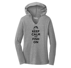 Keep Calm and Fish On Ladies Tri-Blend Hooded Tee