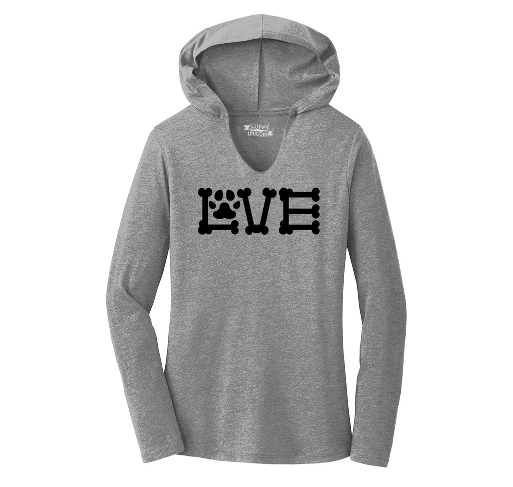Love Dogs Dog Bone Puppy Lover Ladies Tri-Blend Hooded Tee