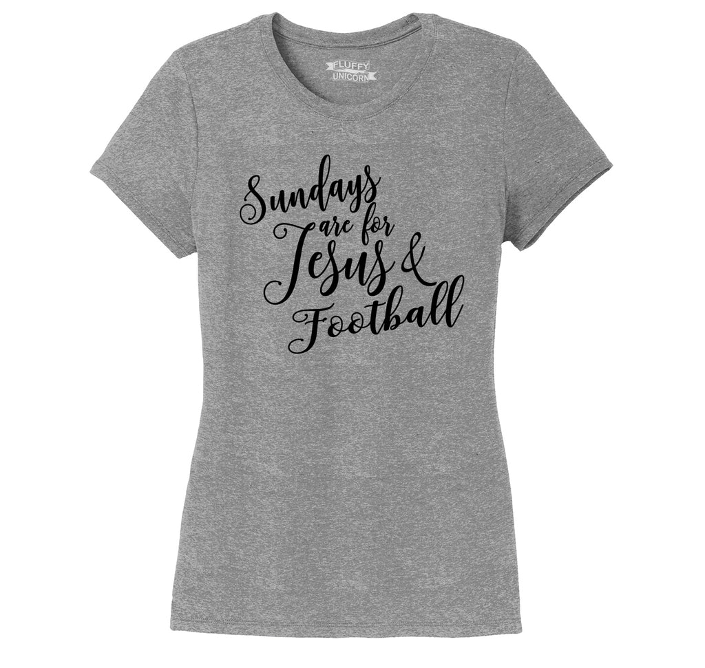 Sundays Are For Jesus & Football Ladies Short Sleeve Tri-Blend Shirt