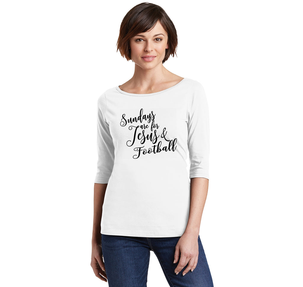 Sundays Are For Jesus & Football Ladies Wide Neck 3/4 Sleeve Tee