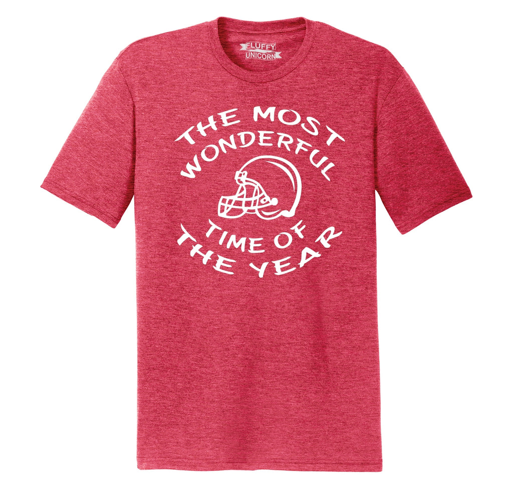 The Most Wonderful Time Of The Year Football Mens Short Sleeve Tri-Blend Shirt