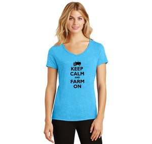 Keep Calm and Farm On Ladies Tri-Blend V-Neck Tee Shirt