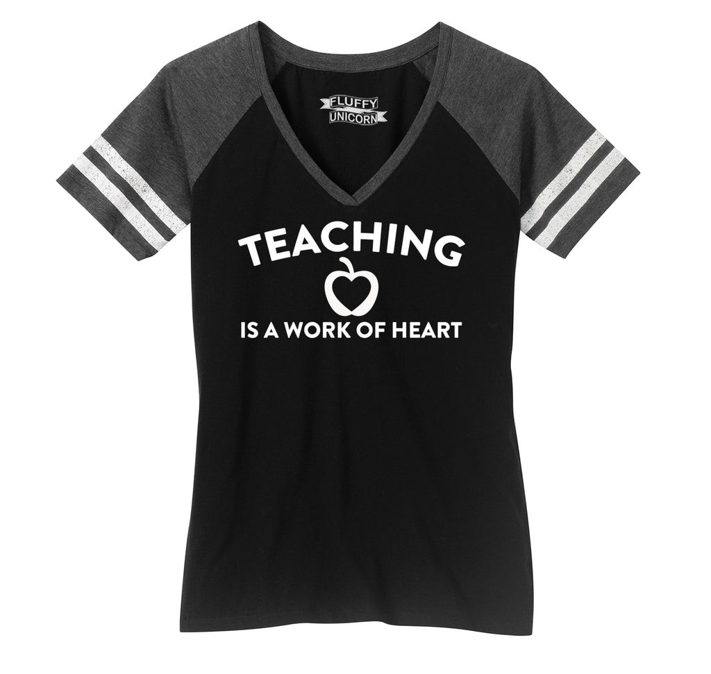 Teaching Is A Work Of Heart Ladies Short Sleeve Game V-Neck Shirt