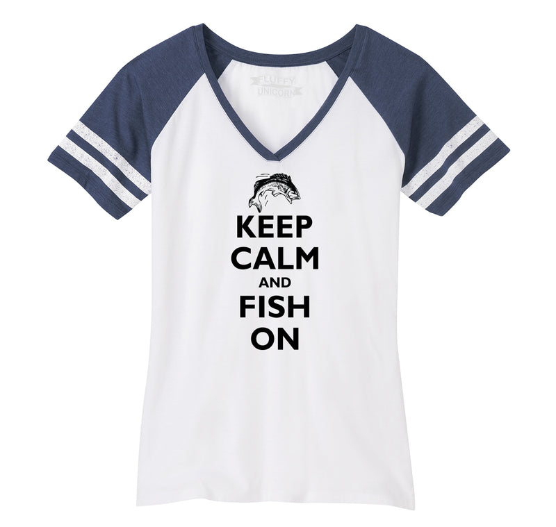Keep Calm and Fish On Ladies Short Sleeve Game V-Neck Shirt
