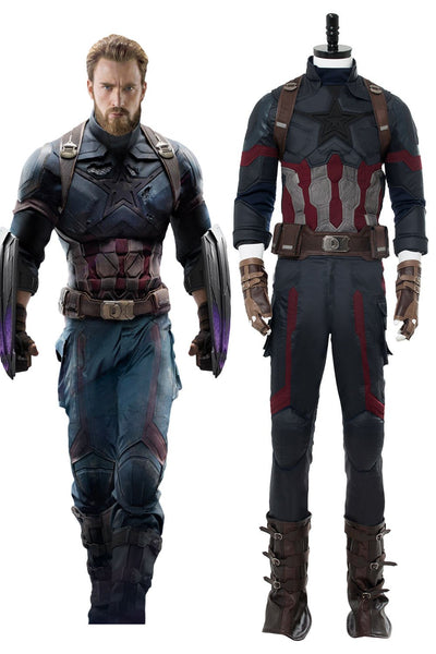 Avengers 3 : Infinity War Captain America Steven Rogers Outfit Uniform Suit Cosplay Costume NEW