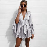 Sexy V Neck Flare Long Sleeve Playsuit High Waist Tie Up Pleated Satin Short Romper
