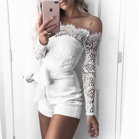 Solid Lace-Up Bow Lace Off-shoulder Long Sleeve Fashion Formal White Polyester Lace Rompers