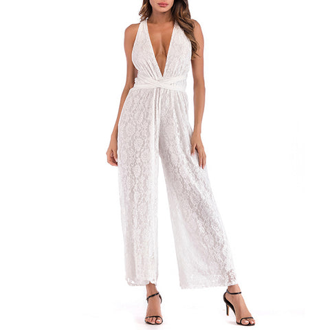 Solid Deep v-neck Sleeveless Sexy White Lace Jumpsuits
