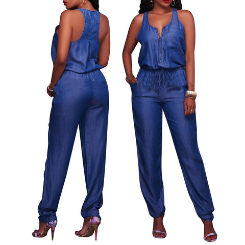 Solid Pockets Straps Sleeveless Fashion Blue Denim Jumpsuits