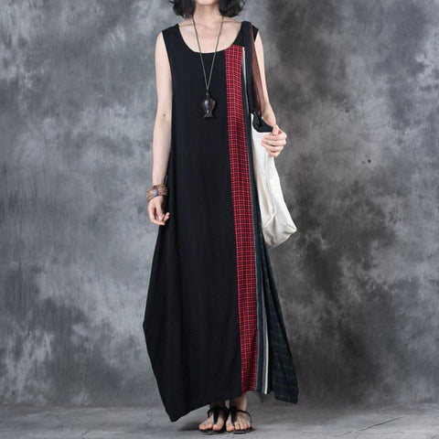 Straight Round Maxi Sleeveless Plaid Patchwork Striped Plus Size Dresses