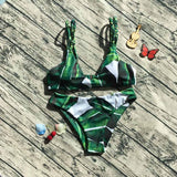 Green Fashion Print Bikinis