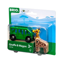 Image of Giraffe & Wagon set by BRIO in packaging
