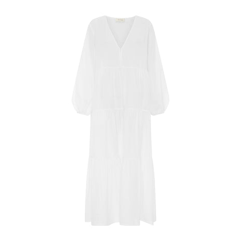 Embroidered linen mini smock dress