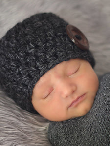 Charcoal gray button beanie baby hat by Two Seaside Babes