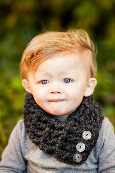 1T to 4T Toddler Charcoal Gray Button Scarf
