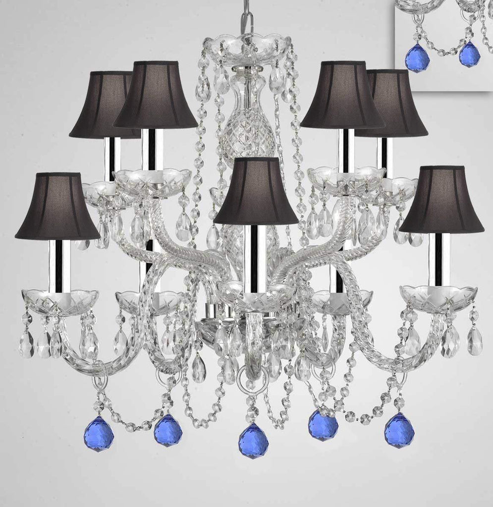 "Chandelier Lighting Crystal Chandeliers H25"" X W24"" 10 Lights w/Chrome Sleeves - Dressed w/Blue Crystal Balls! Great for Dining Room, Foyer, Entry Way, Living Room, Bedroom, Kitchen! w/Black Shades - G46-B43/B99/BLACKSHADES/CS/1122/5+5"