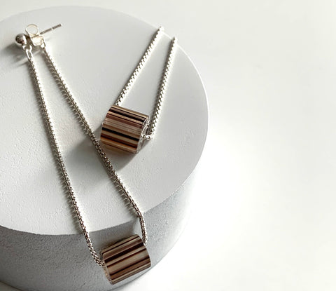 Erin Keary Striped Chain Earring made with Sterling Silver Chain and handmade cane glass bead