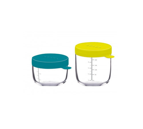 150ml and 250ml Beaba Glass conservation jars with Blue and Neon silicone lid