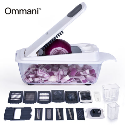 Vegetable Chopper,Ommani Food Chopper Cutter 11 Interchangeable Stainless Steel Blades Multifunction More Container Capacity Strongest Heavier Duty Multi Vegetable Fruit Cheese Onion Chopper Dicer Kit - AngLinks