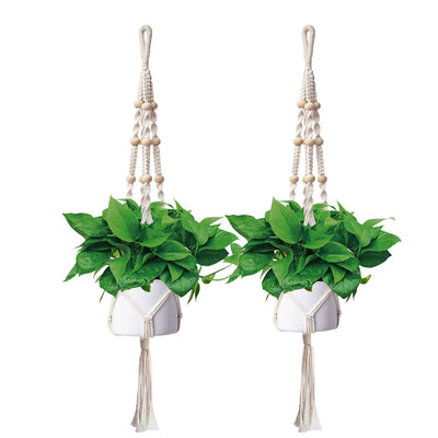AngLink Macrame Hanging Plant Holders, 48 Inches (2 Packs) 4 Legs Indoor  Outdoor - AngLinks