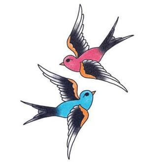Tattooed Now! Blue and Red Swallow
