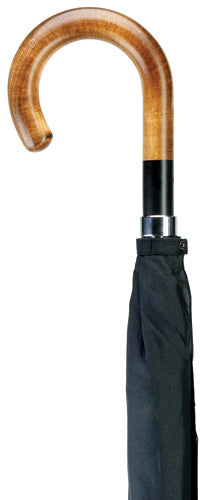Men's Black Banded Maple Wood Crook Umbrella 36