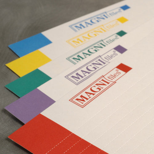 Ultimate Office MagniFile® Index Strips; 5 Color-Tipped Index Strips to Color-Code Your File Titles. 125 Index Strips (25 each of 5 Colors).  For Use With ALL MagniFile Products.