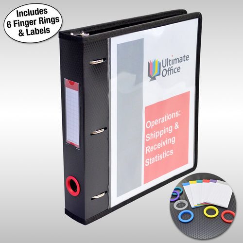"Ultimate Office PortaFile™ View Binder 1 1/2"" Heavy-Duty D-Ring Binder Features Locking Cover, Sewn Nylon Edges, 6 Color Rings and Matching Labels and 2 Large Interior Pockets for Loose Papers (1 each)"