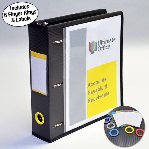 "Ultimate Office PortaFile™ View Binder 2"" Heavy-Duty D-Ring Binder Features Locking Cover, Sewn Nylon Edges, 6 Color Rings and Matching Labels and 2 Large Interior Pockets for Loose Papers (1 each)"