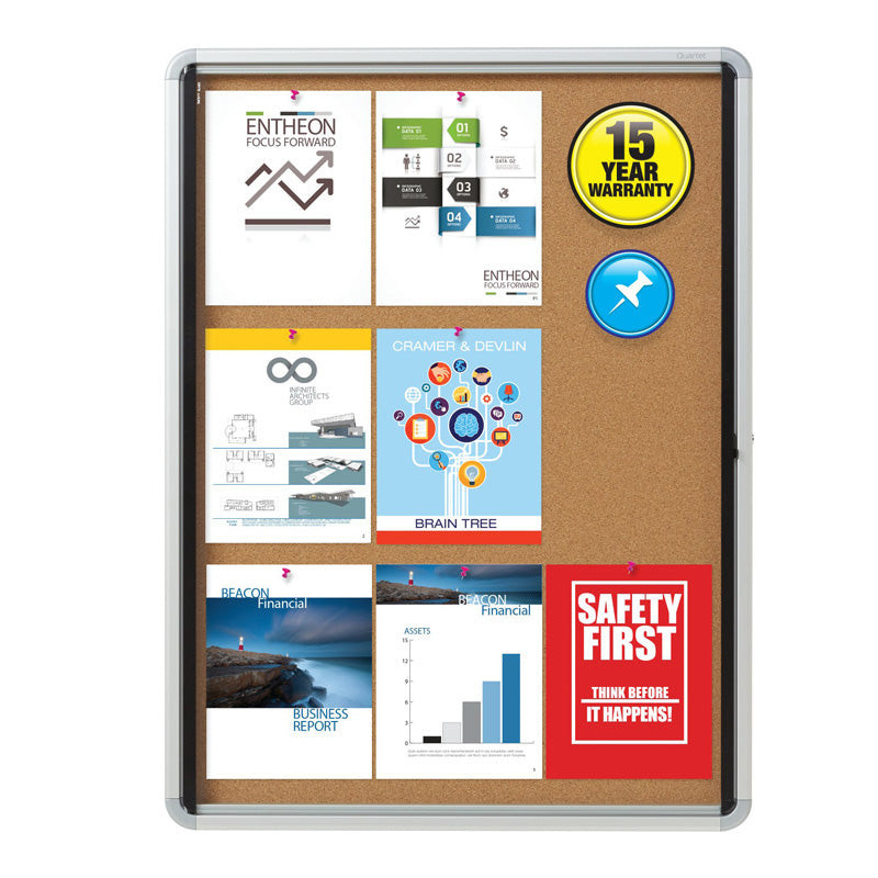 Enclosed Indoor Cork Bulletin Board w/ Swing Glass Doors, Silver Frame
